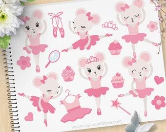 Mouse Ballerina (Pink) Clipart, Angelina, Ballet shoes, Tutu, fairy princess, Prima Ballerina, Commercial Use, Vector clip art, SVG Files