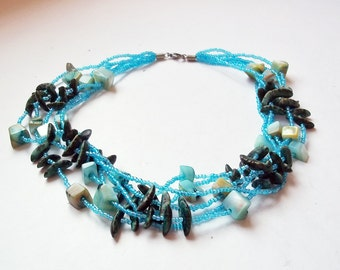 Vintage Multi-Strand Shell and Blue Glass Seed Bead Necklace - Beach Necklace - Boho Summer Necklace - Dyed Blue Shells - Hippie Necklace