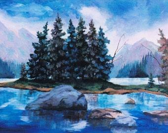 Mountain Pines Original Acrylic Painting
