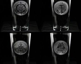Nautical PUB Glassware Set, Sailboat, Anchor, Beach House Glasses, Coastal Decor