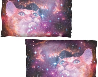Galaxy Cat Pillow Case Set