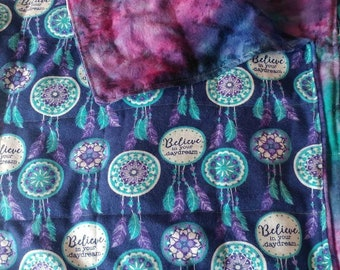Dreamcatcher with tie dye weighted sensory blanket 10 lbs 42 x 72
