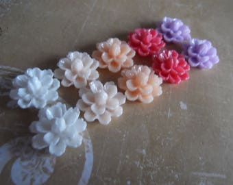 10 Pack 1 pastel 14mm resin flower cabochons