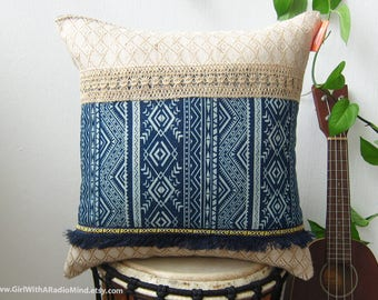 Indigo Denim Throw Pillow - Shabby Chic Cushion Cover Beige with Geometric Pattern and Earthy Tribal Trims