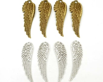 4 Antique Bronze Or Antique Silver Angel Wing Charms - 22-6-5