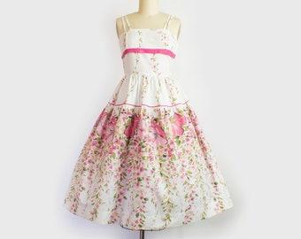 1950s Floral Cotton Sundress | Medium (33B/28W)