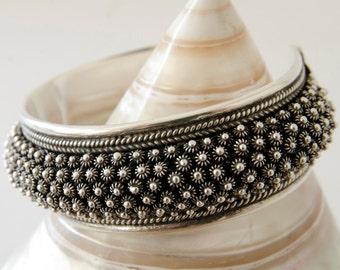Chunky Silver Bangle, Tribal Bracelet, Chunky Silver Bracelet, Ethnic Bracelet, Sterling Silver Bracelet, Statement Bracelet, Boho Bracelet
