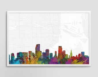 Miami Florida Cityscape and Street Map Watercolor Art Print Office or Home Wall Decor