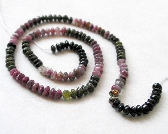 Watermelon Tourmaline Beads Mini Rondelle For Beaded Jewelry Making Metaphysical Healing Stone