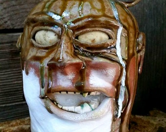 snarling sculptural FACE JUG by Joel Patton, ash glaze