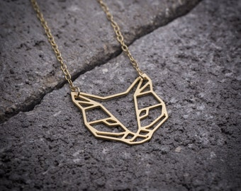 Cat necklace cat lover gift Geometric necklace gold cat necklace animal necklace cat pendant cat jewelry silver cat necklace