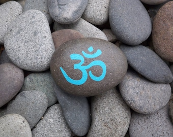 Blue Om Rock Stone Greeting Note Card
