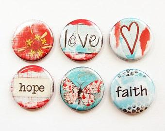 Magnet Set Faith Hope Love Magnets, Magnets, button magnets, Fridge Magnets, Kitchen Magnets, Locker Magnets, Red, Blue, magnet set (3332)
