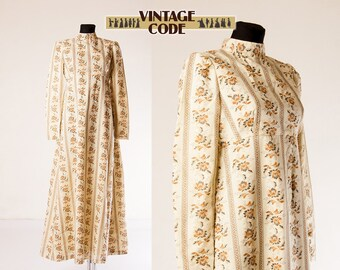 Cream White Yellow Jane Austen Dress / Empire Waist Maxi Dress Regency dress / Historical dress / size Medium