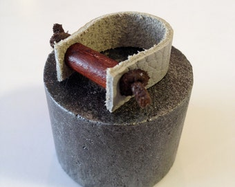 Soft Leather Ring - Grey and Brown - Cool Leather Jewelry - Wood Bead