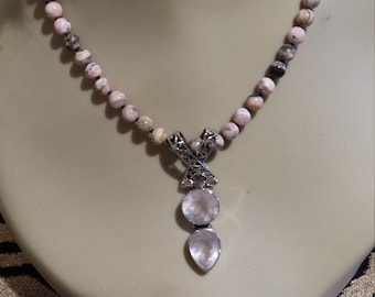 Sterling silver rose quartz pendant with Rhodochrosite necklace