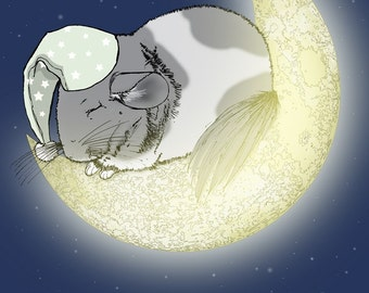 Sleeping Chinchilla on the Moon 5x7 Giclee Illustration Print with Two Greeting Cards - Irregulars - Sale