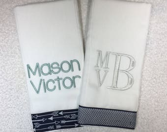 Monogrammed Boutique Burp Cloths, Personalized burp cloths, Set of 2, baby gift, baby shower gift, personalized baby gift