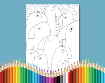 Coloring Pages for Adults The Flock (Of Birds) Instant Download