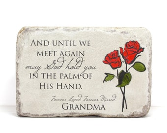 Personalized Memorial Stone or Bereavement Gift. 6x9 Indoor or Outdoor Handcrafted Concrete Stone. Keepsake Gift for Garden or Home.