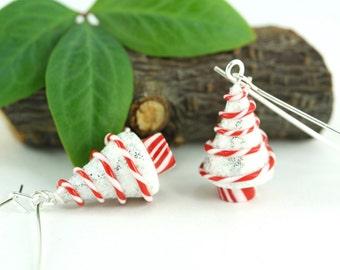 Christmas Earrings Peppermint Swirl Candy Holiday White Miniature Tree Folk Whimsical Hostess Nature Novelty Nostalgic Winter Festive Gift