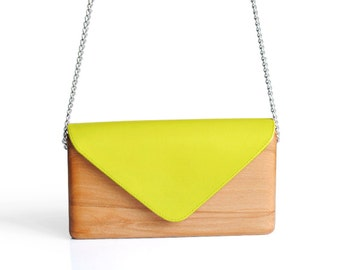 Unique Wooden Bag with Yellow Leather Handcrafted | Wood and Leather Clutch Bag | Gift for Women | Handmade | Lemnia