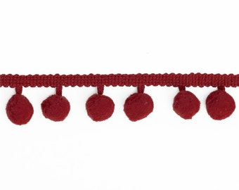 Riley Blake-Sew Together Notions Pom Poms 1/2 Inch in Red by the Yard