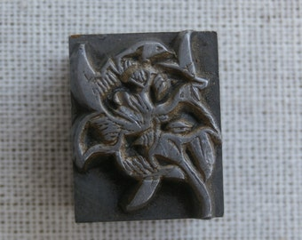 Antique or Old Vintage Flower Design Printers Block Letterpress All Metal Collectible Craft Supply Shadowbox  Decor Art Deco Floral B.B.&S