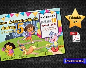 INSTANT DOWNLOAD - Dora The Explorer invitation, Dora The Explorer birthday party, Dora The Explorer printable decoration, Dora The Explorer