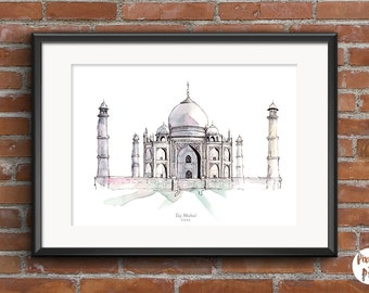 "Printable Art "" Taj Mahal ""  Travel Wall Art   Home Decor   Watercolour   Illustration   Landmarks   Cities"