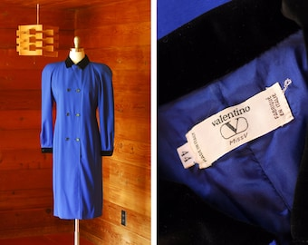 vintage Valentino blue wool double breasted suit dress / size medium