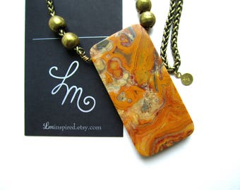 Yellow Jasper Slab Pendant Brass Trade Bead Rounds Lead-free Nickel-free Brass Wheat Chain Necklace by LM-inspired