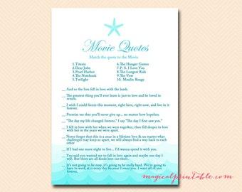 movie quote game, bridal movie game, Nautical, Sea, Starfish, Beach Bridal Shower Games, Bachelorette, Wedding Shower BS28
