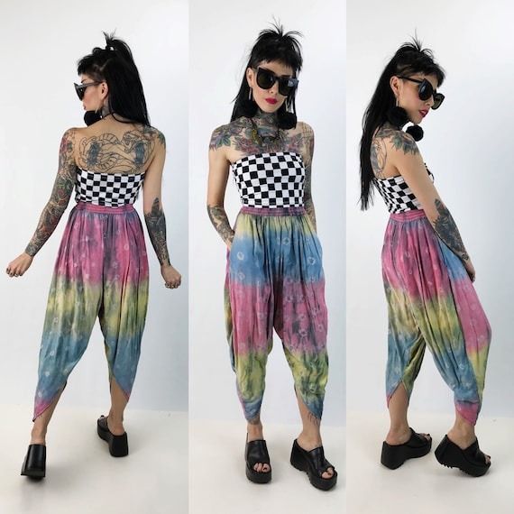 Pastel Rainbow Tie Dye Parachute Pants XS/S High Waist Vintage - Allover Print Baggy Rainbow Tie Dye Beach Bum Hippie Boho Tapered Leg Pants