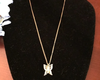 Lovely Gold Plated Butterfly Necklace withFour Cubic Zirconias