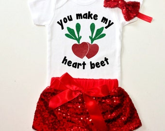 You make my heart beet onesie, sparkle valentine's day onesie, heart onesie, sparkle onesie, baby clothes, baby fashion, baby girl clothing