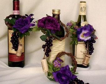 Vineyard Weddings decoration set of 8 Wine BottleToppers cork Grape Purple Centerpieces flower accessories reception decor Made to Order