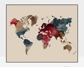 Travel Map, World map wall art, World map poster, World map art, Large world map, gift decor, office decor, home decor, ArtPrintsVicky