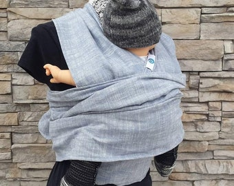 Baby wrap, Chambray linen hybrid wrap baby carrier, non stretchy wrap, easy to use woven wrap, limited edition