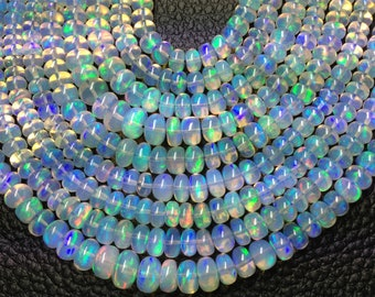 5-7mm RARE SPECIAL 8 Inch Long, aaa Quality, ETHIOPIAN Opal Smooth Rondelles,Superb Promotional Price Offer