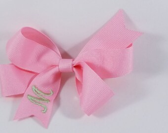 Embroidered Initial Bow in Pink