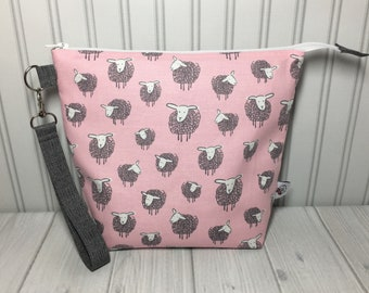 Medium Zipper with Handle Top Knitting Crochet Project Bag - Wooly Sheep