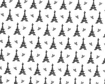 "Eiffel Tower France Cotton Fabric by Mary Fons ,1 yard x 45"""