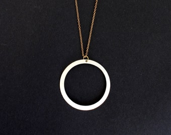 White Circle Necklace.              Reversible Geometric Necklace.     Minimal Modern Jewelry with a Charitable Donation