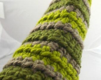 Chunky Crocheted Arm Warmers in Tan and Greens (size M-L, wool content) (SWG-AW-MW03)