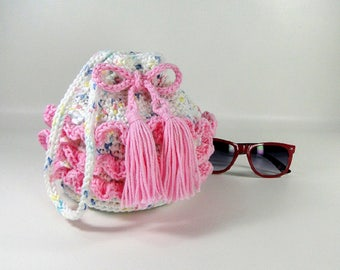 Ruffled Pink Purse - Girl's Ruffled Purse - Little Girl's Purse - Crochet Purse - Make-up Bag - Cosmetic Bag - Pastel Fleck & Peony Pink