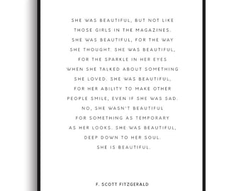 F. Scott Fitzgerald Quote - PRINTABLE FILE. She Was Beautiful. Inspirational Quote Printable. Literary Quote Print. Romantic Love Wall Art.