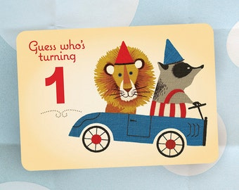 First Birthday Party Invitation - Lion and Badger in GO Cart - Vintage Style - Set of 25 Cards and Envelopes
