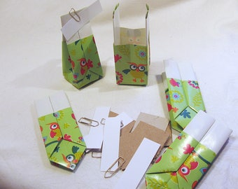 5 Sachets/Gift bags/giveaways owls & flowers on green handicraft