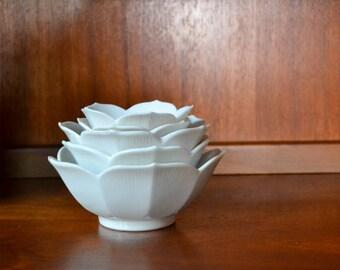 vintage white porcelain lotus bowls / minimalist decor / midcentury lotus bowl